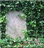 TG2309 : The Secret Garden – old gravestone leaning on the boundary wall by Evelyn Simak