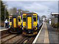 NS4959 : Class 156 trains at Barrhead station by Thomas Nugent