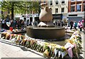SJ8398 : Tributes around St Ann's Cotton Bud Fountain  by Gerald England
