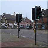 SK8608 : Oakham: High Street traffic lights by John Sutton