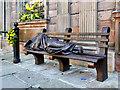 SJ8398 : Homeless Jesus outside St Ann's Church by David Dixon
