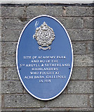 NS2776 : Blue plaque marking the site of Academy Park by Thomas Nugent