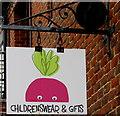 SU1869 : Radish Loves name sign in Marlborough by Jaggery