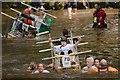 SE3457 : Hooray!  It floats! Knaresborough Bed Race 2018 crossing the Nidd by Mark Anderson