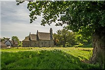 SO4430 : Kilpeck church from a shady Oak tree by Greg Fitchett