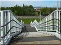 NS5066 : Hillington Footbridge: northern steps by Lairich Rig