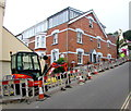 SY3391 : Cobb Road roadworks, Lyme Regis by Jaggery