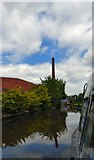 SJ9398 : Approaching Junction Mill chimney by Gerald England
