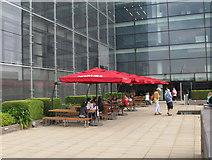 TQ3280 : Picnic tables and umbrellas, Nomura roof garden by David Hawgood