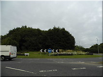 SU4726 : Roundabout on Badger Farm Road, Winchester by David Howard