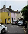 SY3492 : Colourful houses in Georges Square, Lyme Regis by Jaggery
