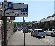 SX2553 : West Looe and Polperro direction sign in East Looe by Jaggery