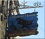 SX2553 : Osborne House name sign, Lower Chapel Street, East Looe by Jaggery