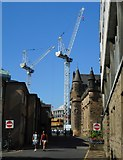 NS5666 : Tower cranes, University of Glasgow by Richard Sutcliffe