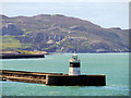 SH2584 : Breakwater Lighthouse and Holyhead Mountain by David Dixon