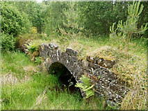 NH7479 : Small old bridge above a burn in Morangie Forest by Julian Paren