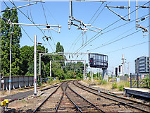 SO9199 : Railway lines north of Wolverhampton Station by Roger  Kidd