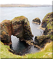 HU2876 : Natural Arch on east coast of Ness of Hillswick by Andy Waddington