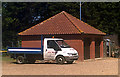 TG3310 : Garages at Plantation Park Football Ground by Adrian Cable