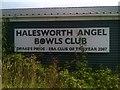 TM3977 : Halesworth Angel Bowls Club sign by Adrian Cable