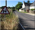 SO4107 : Warning sign - bends - Chepstow Road, Raglan by Jaggery
