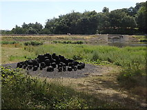 "SE2812 : Yorkshire Sculpture Park: dam and ""Black Mound"" by Rudi Winter"