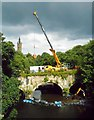 NS5666 : Mobile crane on the Snow Bridge, Kelvingrove by Richard Sutcliffe