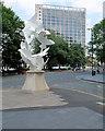 SJ8398 : Doves of Peace Sculpture and Albert Bridge House by David Dixon