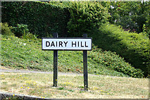 TM3877 : Dairy Hill sign by Adrian Cable