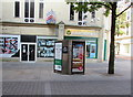 ST3187 : Adverts on BT phoneboxes, Commercial Street, Newport by Jaggery