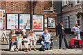 SY4692 : Bridport : Market day street entertainer : Week 29