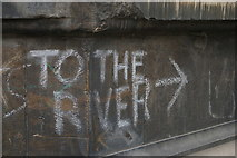 TL4458 : Chalked directions at the corner of Trinity Lane, Cambridge by Christopher Hilton