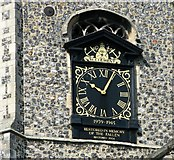 TG2309 : The church of St Clement in Fye Street - war memorial clock by Evelyn Simak