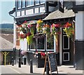 NT2540 : Hanging baskets at the Bridge Inn, Peebles by Jim Barton