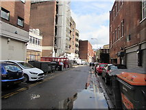ST1876 : Wheelie bins, cars and puddles, Crockherbtown Lane, Cardiff city centre by Jaggery