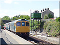 SE1190 : Leyburn railway station - incoming train by Stephen Craven