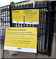 SU4766 : Yellow notices at the Station Road entrance to Newbury railway station by Jaggery