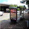 ST3089 : Zingers advert on a Malpas Road bus shelter, Crindau, Newport by Jaggery