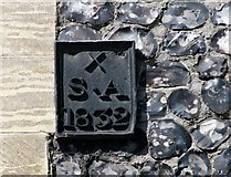 TG2308 : Elm Hill - parish boundary marker by Evelyn Simak