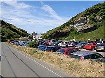 SX0586 : Trebarwith Strand - Carpark by Ashley Dace