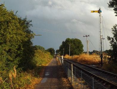 SP7367 : Semaphore signal next to Brampton Valley Way, near Brixworth by Malc McDonald