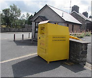 SN9768 : Yellow clothing and shoes bank near Rhayader Fire Station by Jaggery