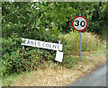 TL8628 : Earls Colne Village Name sign on Tey Road by Geographer