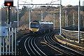 NZ2642 : Train Crossing Durham Viaduct by David Robinson