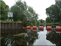 SE3967 : Keep left sign, west end of Milby Cut, River Ure by Christine Johnstone