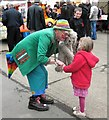 TQ8833 : Children's entertainer at event on Tenterden Station by Patrick Roper