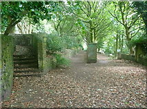 SE0724 : Footpaths and an entrance to King Cross Cemetery, Skircoat by Humphrey Bolton