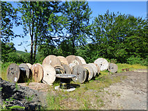 NS1481 : Cable drums in a lay-by by Thomas Nugent