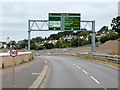 SX8769 : Overhead Sign Gantry on the South Devon Highway by David Dixon