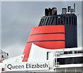 "J3778 : The ""Queen Elizabeth"" (Cunard funnel), Belfast (August 2018) by Albert Bridge"